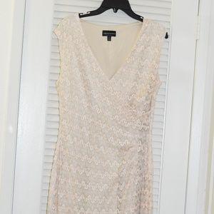 NWOT Connected Apparel Cream Lacy Cap Sleeve Dress